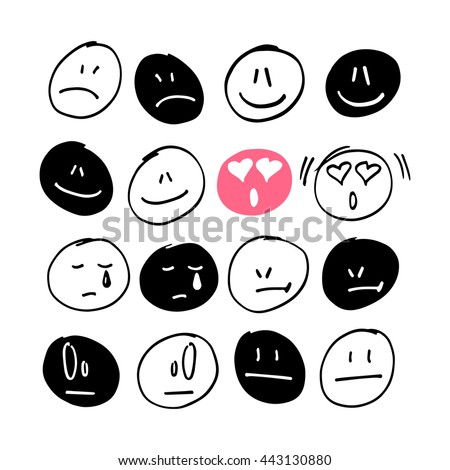 Collection of freehand drawing of emoticons. - stock vector