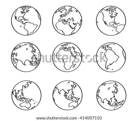 Collection freehand world map sketch on stock vector 414007510 collection of freehand world map sketch on globe gumiabroncs Images