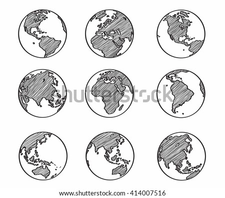Collection freehand world map sketch on stock vector 414007516 collection of freehand world map sketch on globe gumiabroncs