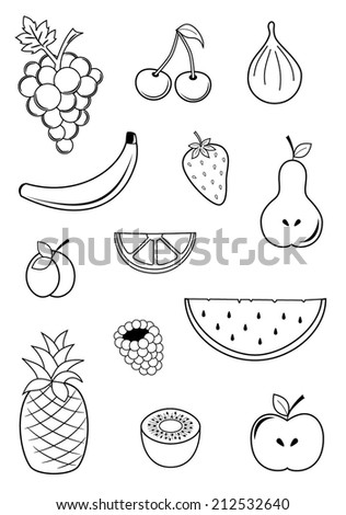 Collection of fruits - cherry, banana, pineapple, kiwi, apple, pear, strawberry, fig, raspberry, watermelon, plum. outline drawing design. vector art image illustration, isolated on white background
