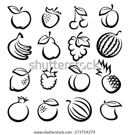 Collection of fruits set. Vector illustration - stock vector