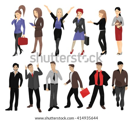 Collection of full length portraits of business people. Business person. Women group. Business people icon. Business people portrait. Business man. Businessman. Set of cartoon business people. Icon - stock vector