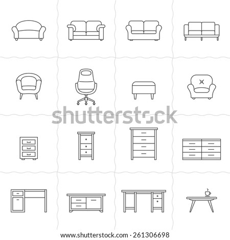 Collection of furniture icons. Icons for website of furniture retailer. Simple outlined icons. Linear style - stock vector