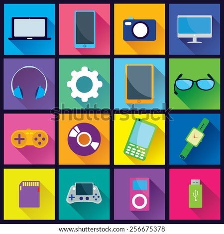 Collection of Gadget Flat Icons in colorful square background with diagonal shadow - stock vector