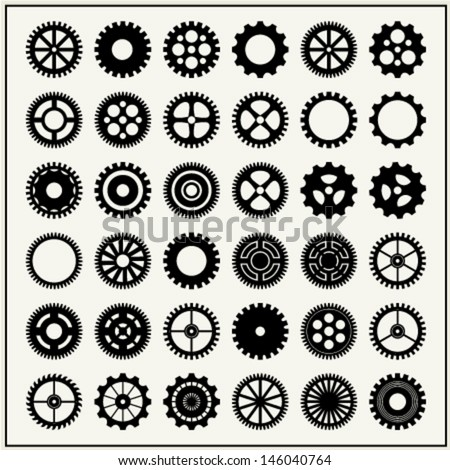 Collection of 36 gear wheels isolated on light background