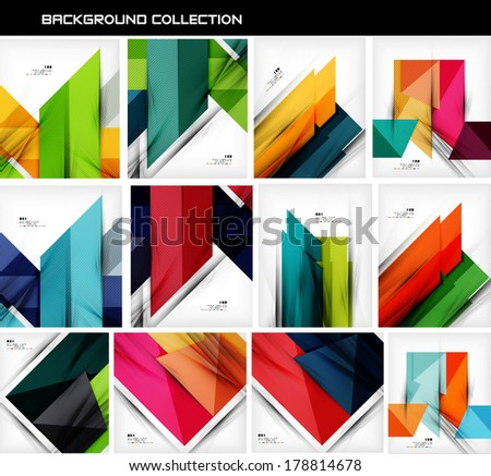 Collection of geometric shape abstract backgrounds. For business background | numbered banners | business lines | graphic website - stock vector