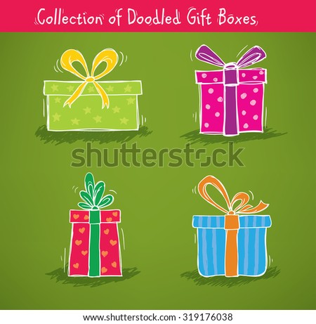 Collection of gift boxes for birthday, christmas and other celebrations - stock vector