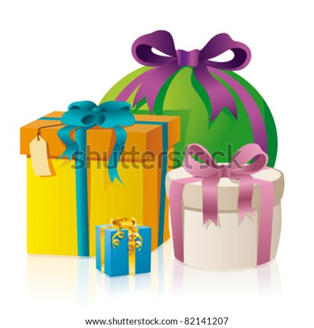 Collection of gifts, present boxes, gift-wraped boxes