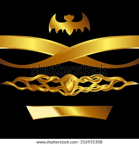 Collection of gilded elements for design, golden decor on a black background. - stock vector