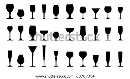 collection of glasses silhouettes - stock vector