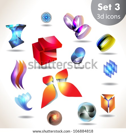 Collection of glossy and shiny three-dimensional quality vector-icons with a lot of variety ideas for business , flayer and presentation/Set of elements for design vector - stock vector