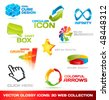 Collection of glossy 3d vector icons for your business artwork - stock vector