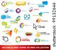 Collection of glossy 3d vector icons for your business artwork. Vector illustration. - stock vector