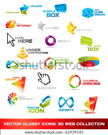 Collection of glossy 3d vector icons for your business artwork. Vector illustration.