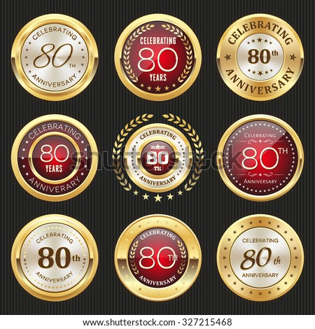 Collection of glossy gold and red 80th anniversary badges - stock vector