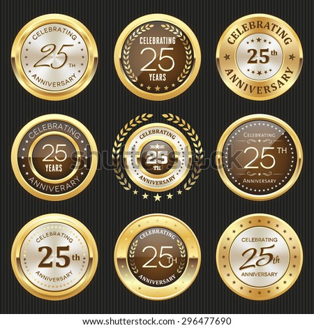 Collection of glossy gold 25th anniversary badge - stock vector