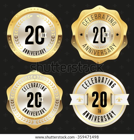 Collection of glossy gold 20th anniversary badges - stock vector