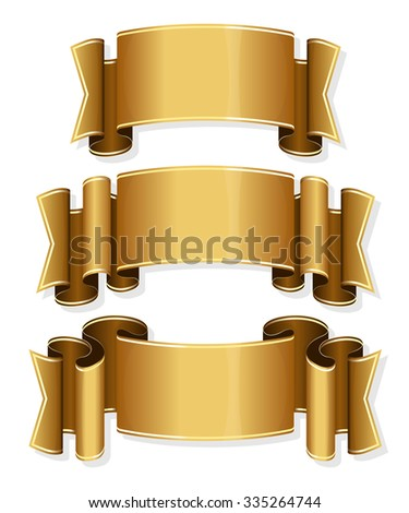Collection of 3 gold ribbon. Vector illustration  - stock vector