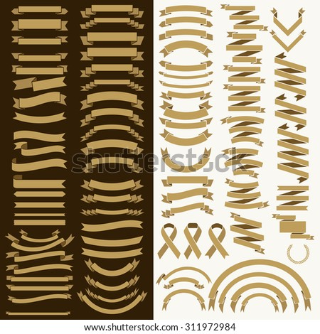 Collection of gold ribbons and labels. - stock vector