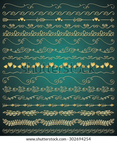 Collection of Golden Royal Luxury Hand Sketched Artistic Rustic Decorative Doodle Vintage Seamless Borders, Swirls, Branches. Design Elements. Hand Drawn Vector Illustration. Pattern Brashes - stock vector
