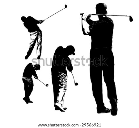 collection of golfers silhouettes - stock vector