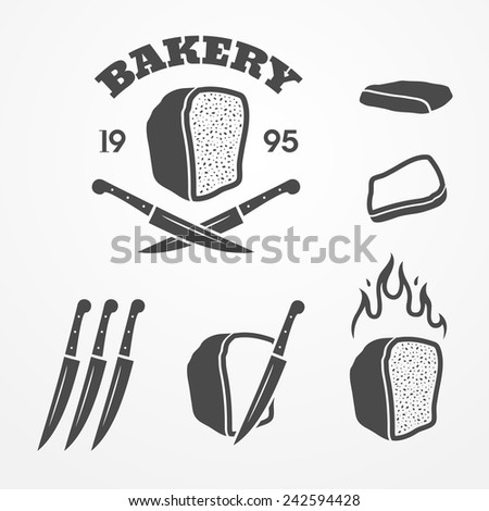 Collection of graphic bakery logos and design elements, bread, knife and flame - stock vector