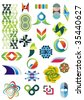 collection of graphic design elements and ornaments, twenty four  pieces - stock vector