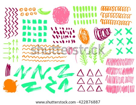 Collection of graphic elements for design, paint drawn with chalk, marker, pastel and pencil on white background. Set of brush strokes.  Hand Drawn textures made with ink.