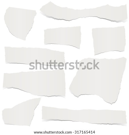 collection of gray colored scraps of papers with shadows - stock vector