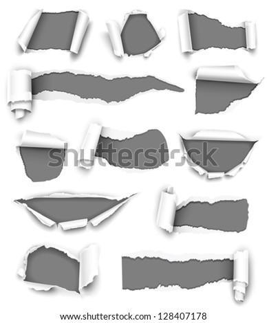 Collection of gray torn paper. Vector - stock vector
