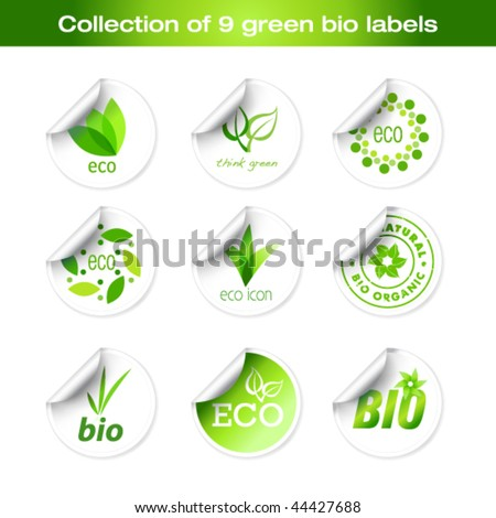 Collection of green bio stickers - stock vector