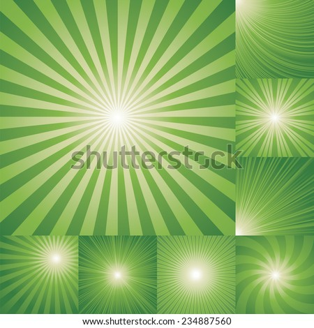 collection of green color burst background. Vector illustration - stock vector