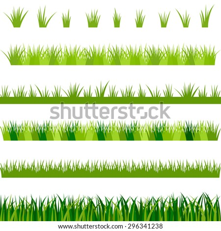 Collection of green grass, vector illustration - stock vector
