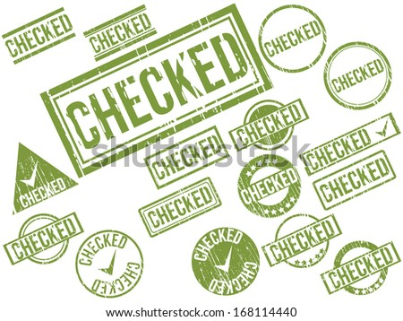 "Collection of 17 green grunge rubber stamps with text ""CHECKED"" . Vector illustration - stock vector"