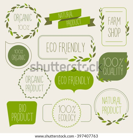 Collection of green labels and badges for organic, natural, bio and eco friendly products. Vintage vector.