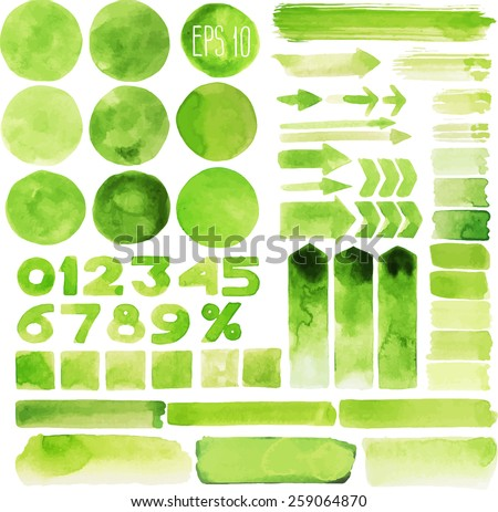 Collection of green watercolor design elements isolated on white background - stock vector