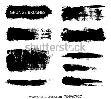 Collection of grunge brush strokes.Vector grunge brushes.