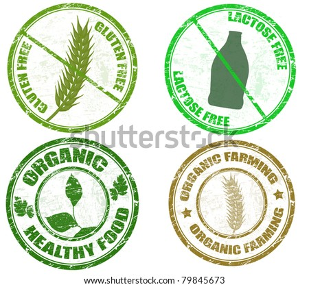 Collection of grunge diet stamps (gluten free, lactose free and organic), vector illustration - stock vector
