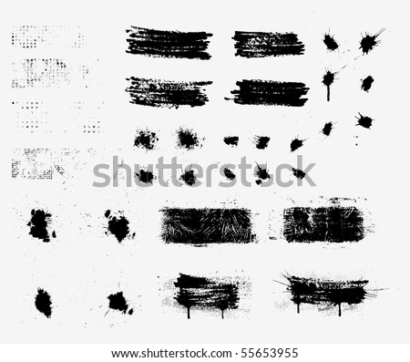 Collection of grunge elements. Vector. - stock vector