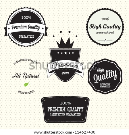Collection of Guarantee Labels with retro vintage styled design - stock vector