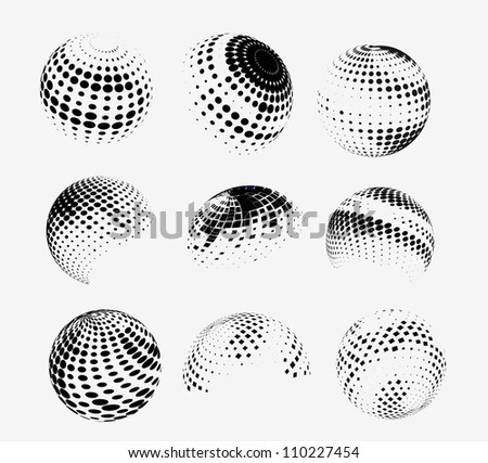 Collection of halftone sphere vector