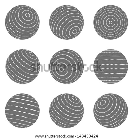 Collection of halftone sphere vector logo template. Abstract globe symbol, isolated round icon, business concept .You can use science and technology, tourism, financial or environmental background. - stock vector