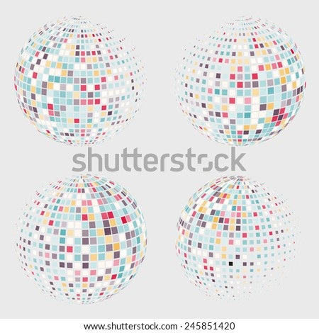 Collection of halftone sphere vector logo template. Abstract globe symbol, isolated round icon, business concept .You can use science and technology, tourism, financial or environmental background - stock vector