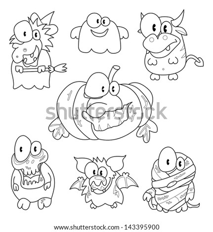 Collection of halloween creatures - stock vector