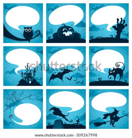 Collection of halloween elements with speech bubbles - stock vector