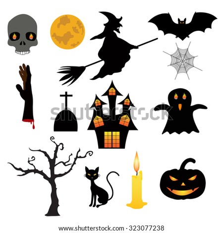 Collection Halloween Icons Stock Vector 323077238 - Shutterstock