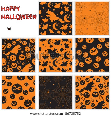 Collection of halloween seamless patterns. Vector illustration. - stock vector