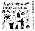 Collection of halloween silhouettes. Vector illustration - stock photo