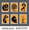 Collection of Halloween stamps with different motives - stock vector