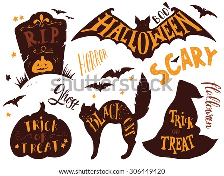 Collection of Halloween symbols with hand lettering. Trick or treat, horror, scary, black cat, r.i.p., ghost, boo. Headstone, bat, cat, witch hat, pumpkin. - stock vector